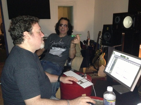 Arnie Miot & Mike Rogers in the studio mixing Golden Axe Attack debut album.
